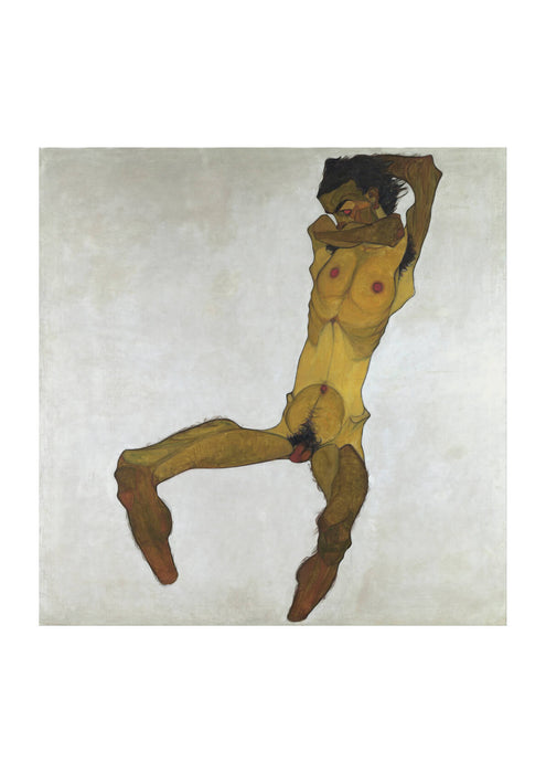 Egon Schiele - Seated Male Nude Self-Portrait