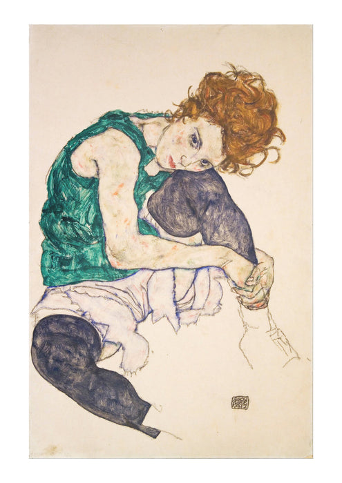 Egon Schiele - Seated Woman with Legs Drawn Up Adele Herms