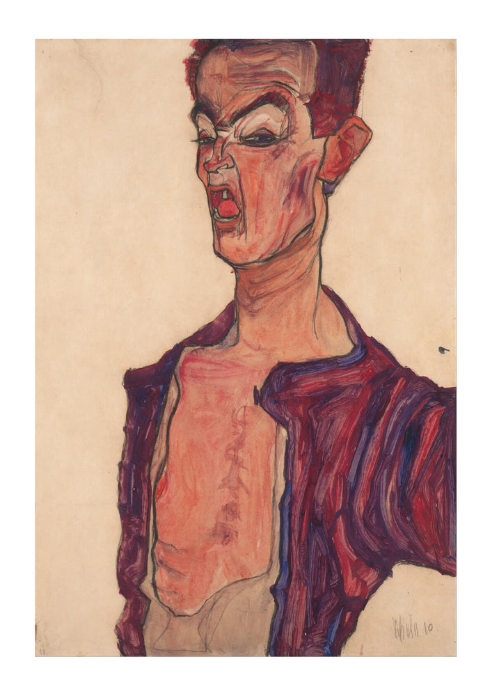 Egon Schiele - Self-Portrait Grimacing