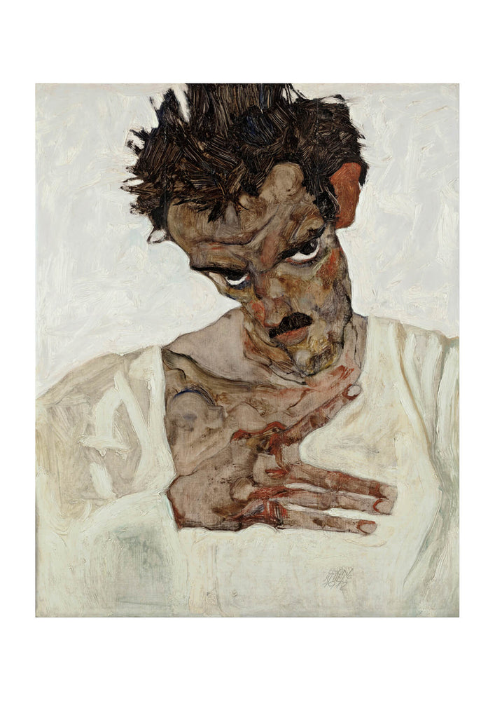 Egon Schiele - Self-Portrait With Lowered Head-2