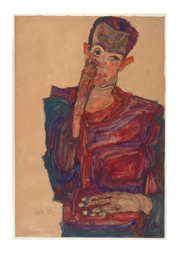 Egon Schiele - Self-Portrait with Eyelid Pulled Down 1910