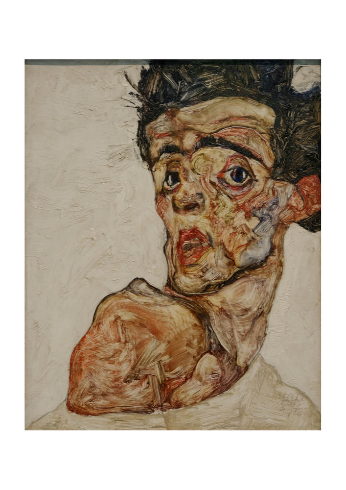Egon Schiele - Self portrait with raised bare shoulder 1912