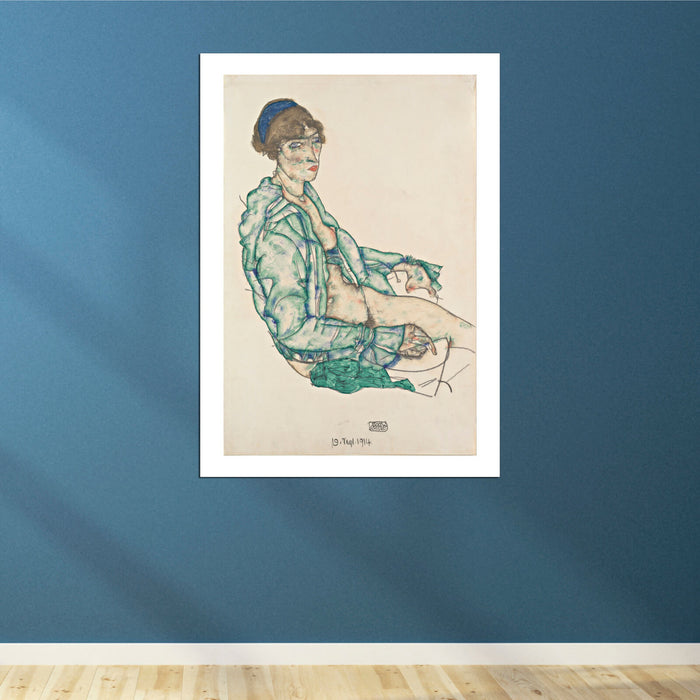 Egon Schiele - Sitting Semi-Nude with Blue Hairband
