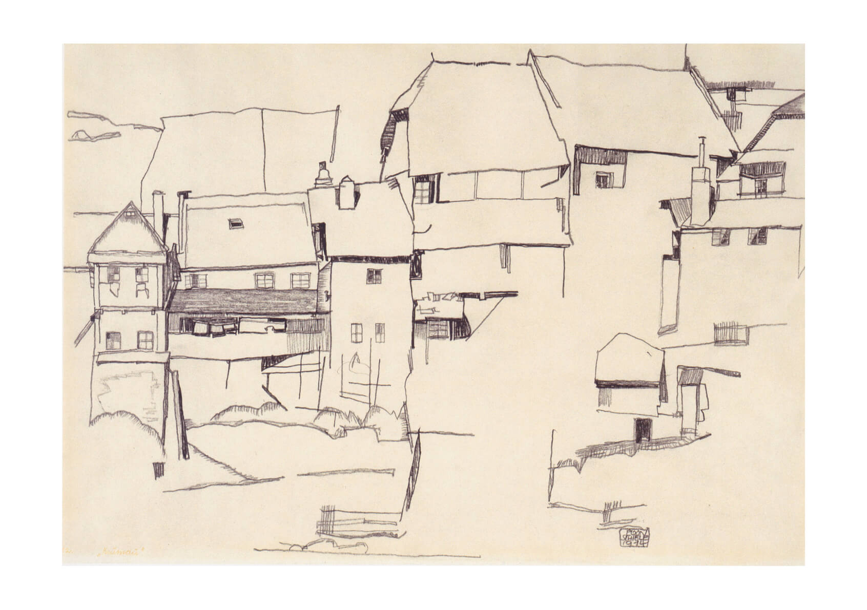 Egon Schiele - Sketch of Town