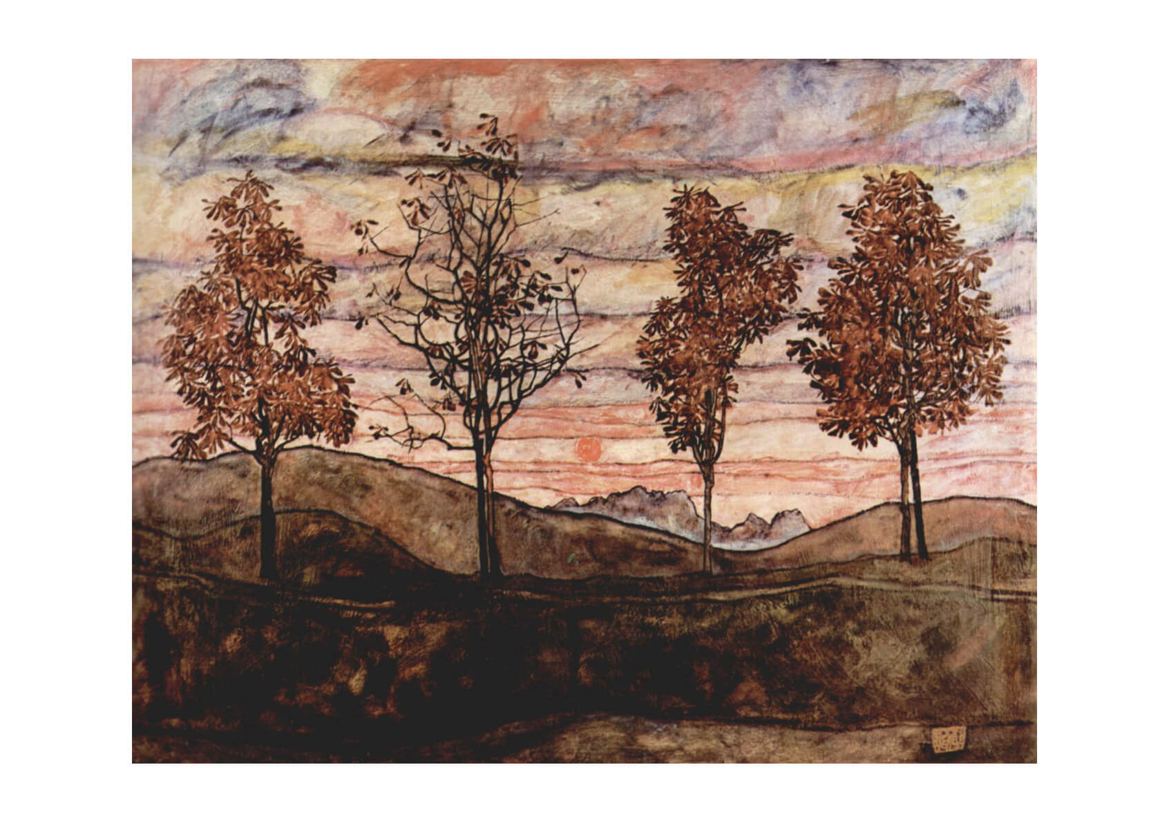 Egon Schiele - Trees by the HIll
