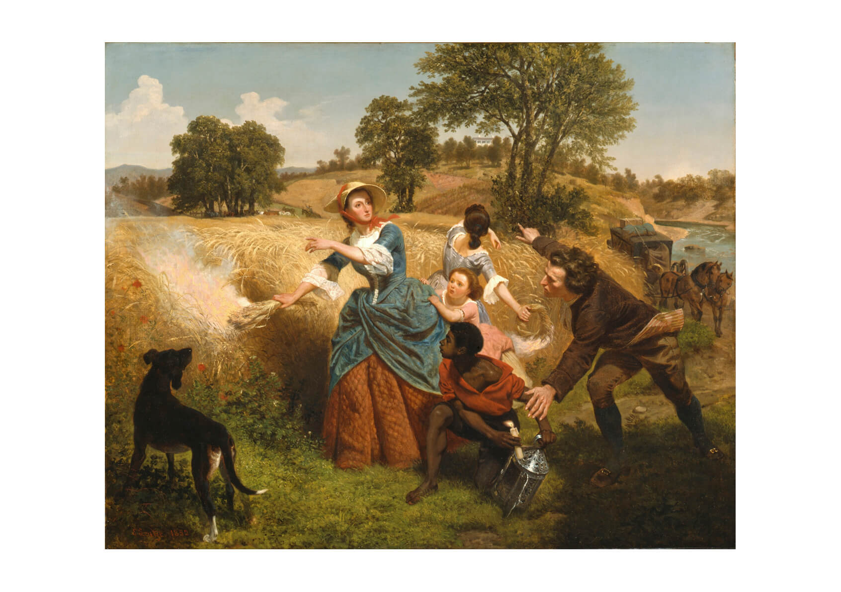 Emanuel Leutz - Mrs. Schuyler Burning Her Wheat Fields on the Approach of the British