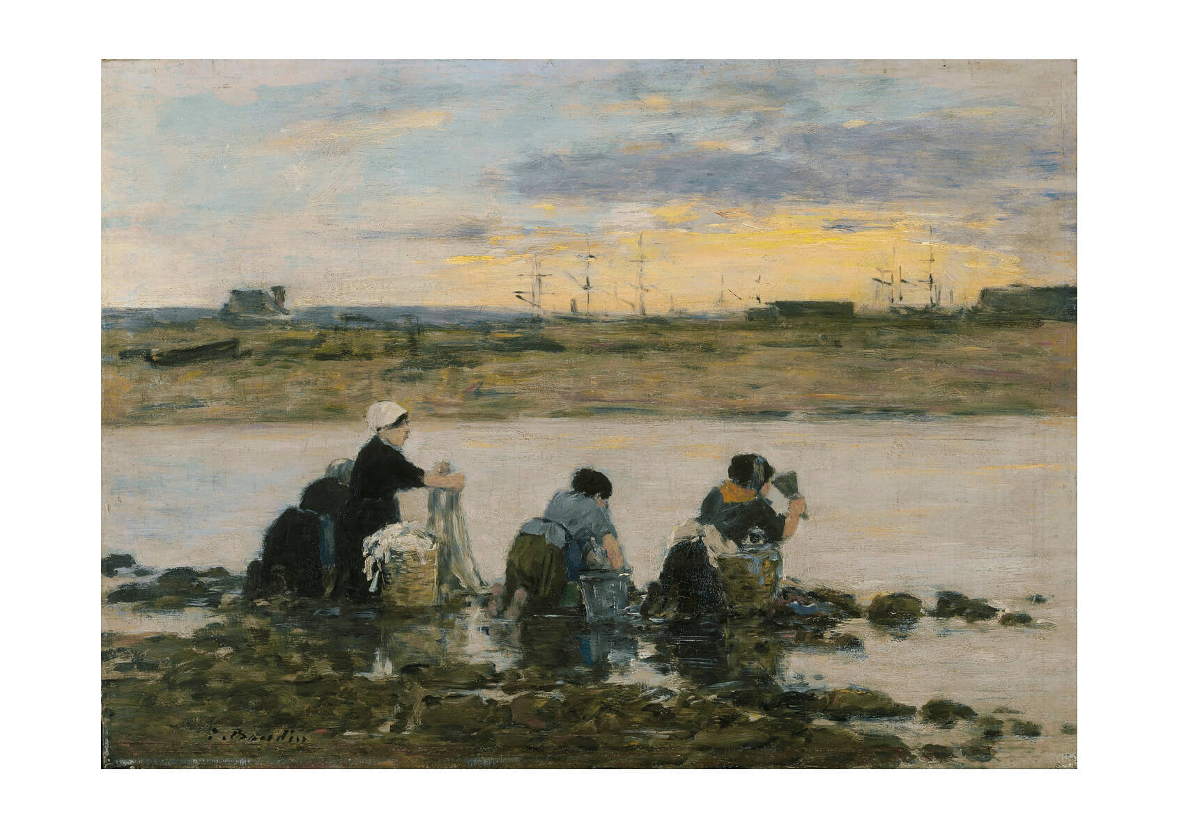 Eugène Boudin - Washerwomen By The River