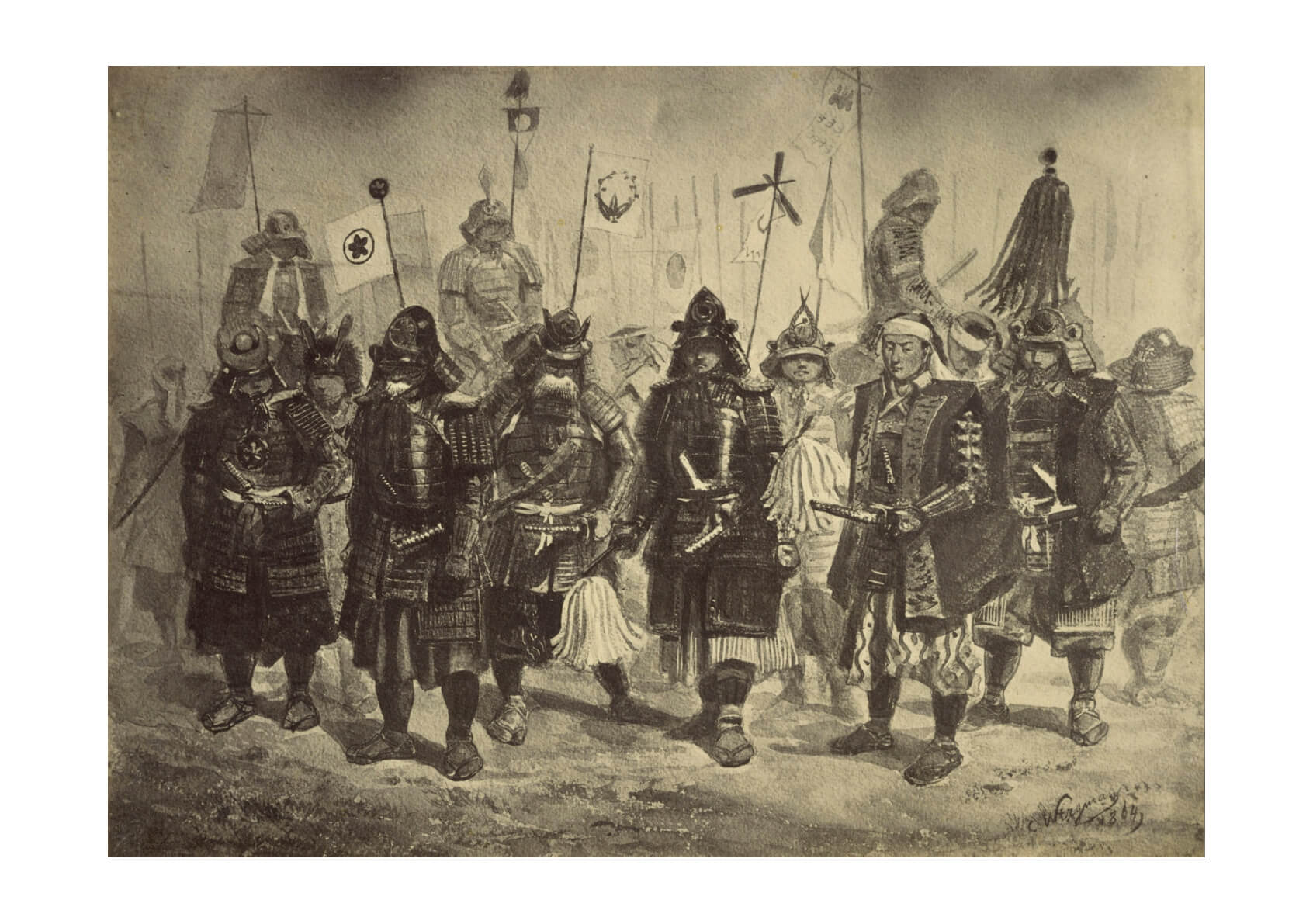 Felice Beato (British born Italy (Photographic Copy of a Drawing of Japanese Warriors by Charles Wirgman)