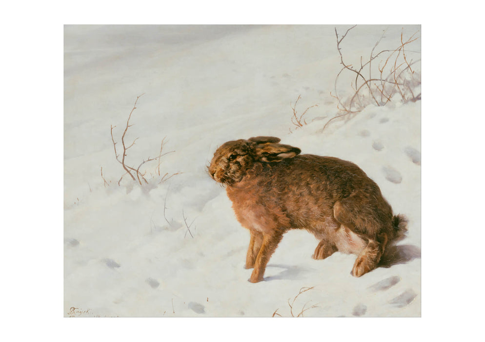 Ferdinand von Rayski Hare in the Snow