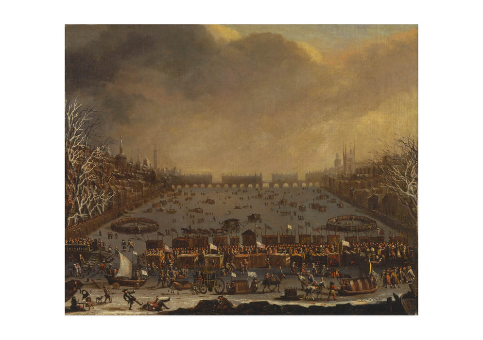 Frost Fair On Thames With Old London Bridge In Distance