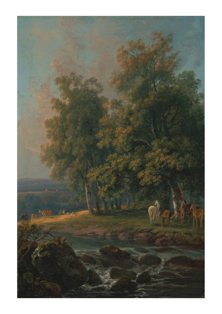 George Barret - Horses And Cattle By A River
