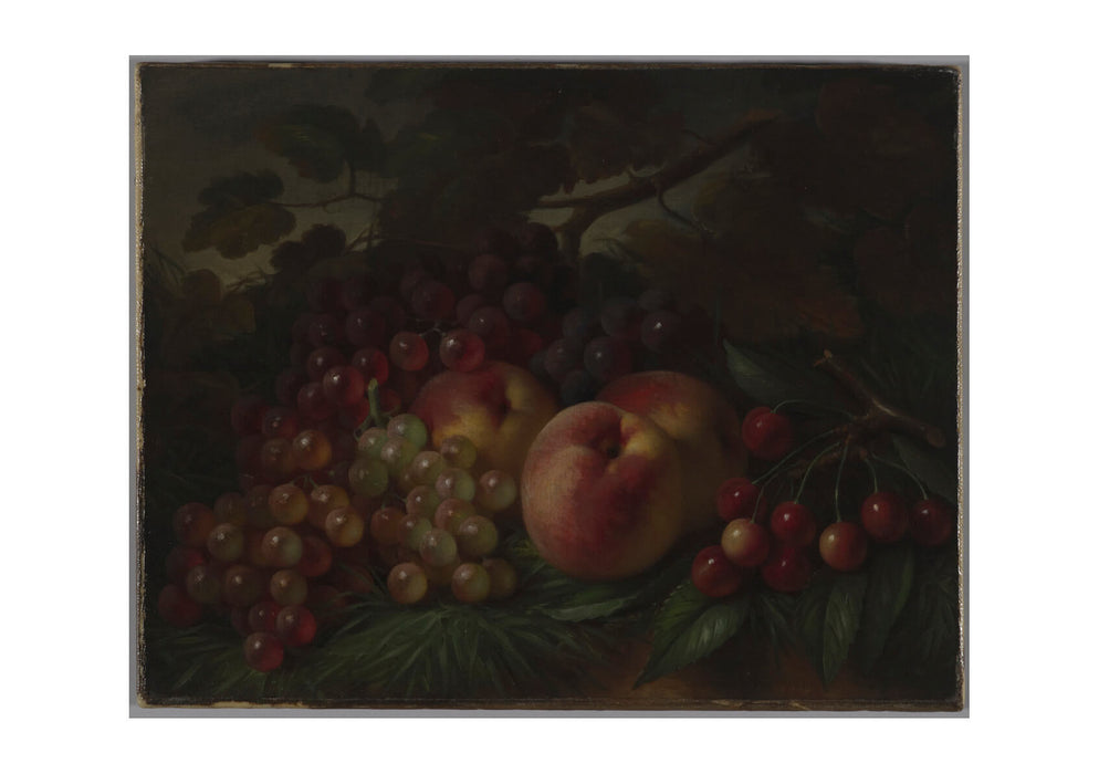 George Henry Hall - Peaches Grapes And Cherries-2
