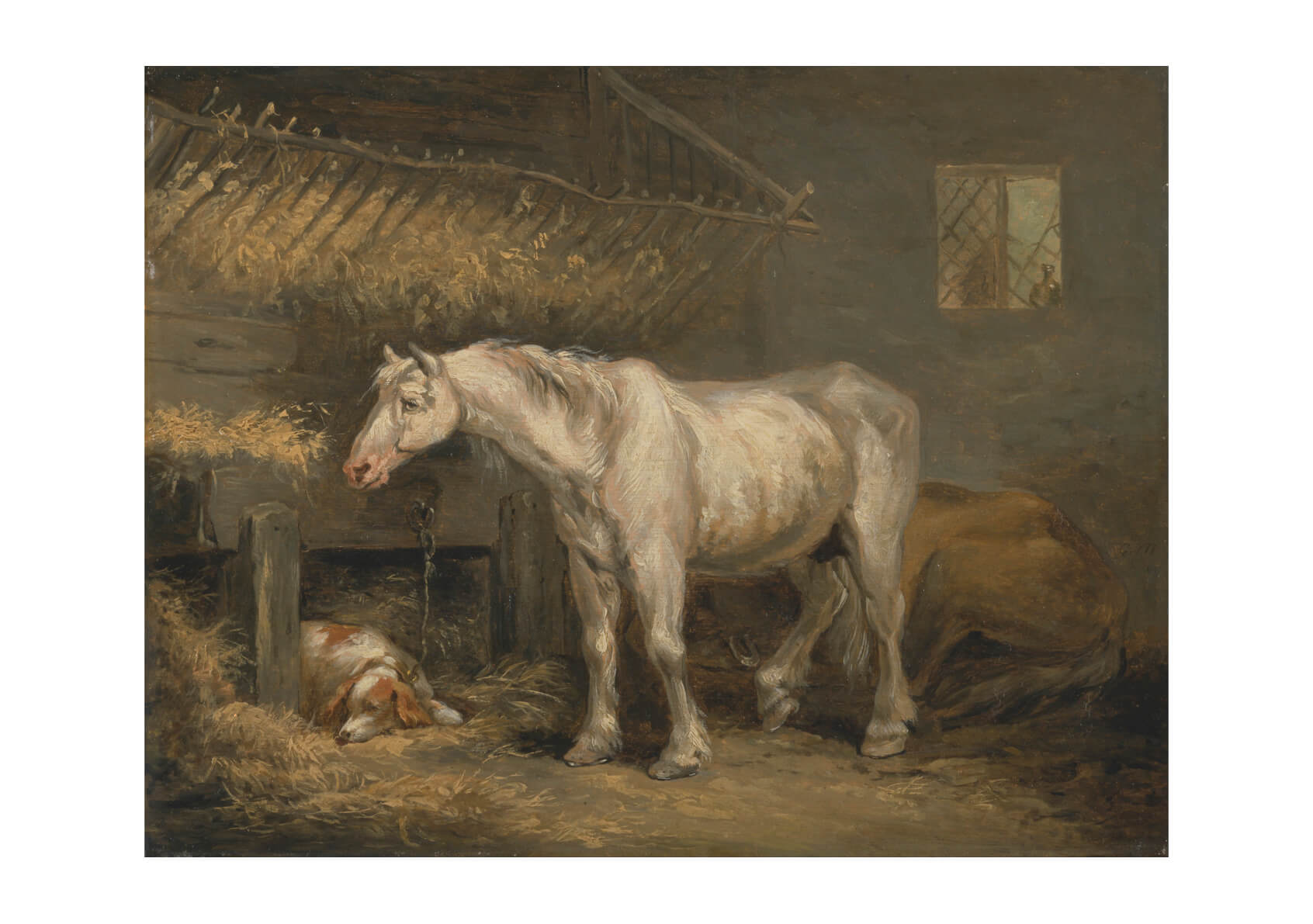 George Morland - Old Horses With A Dog In A Stable