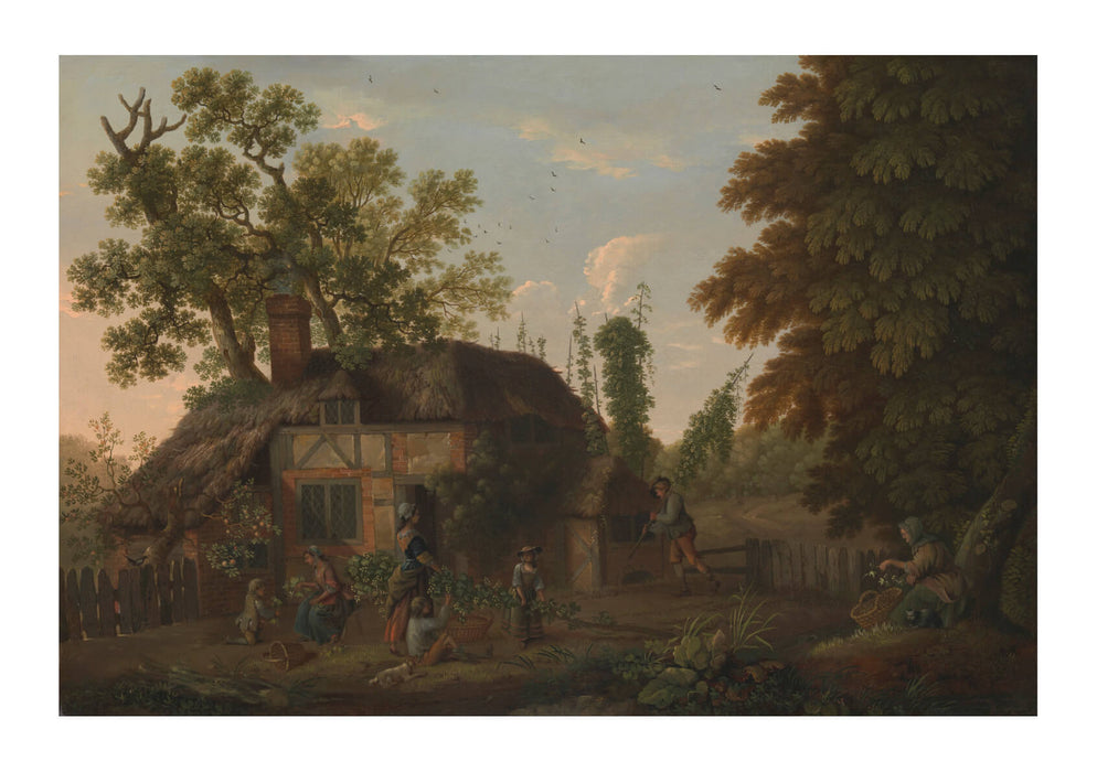 George Smith - Hop Pickers Outside A Cottage
