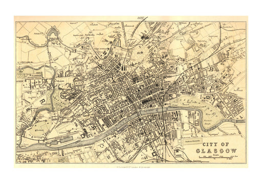 Glasgow map Scotland 1878