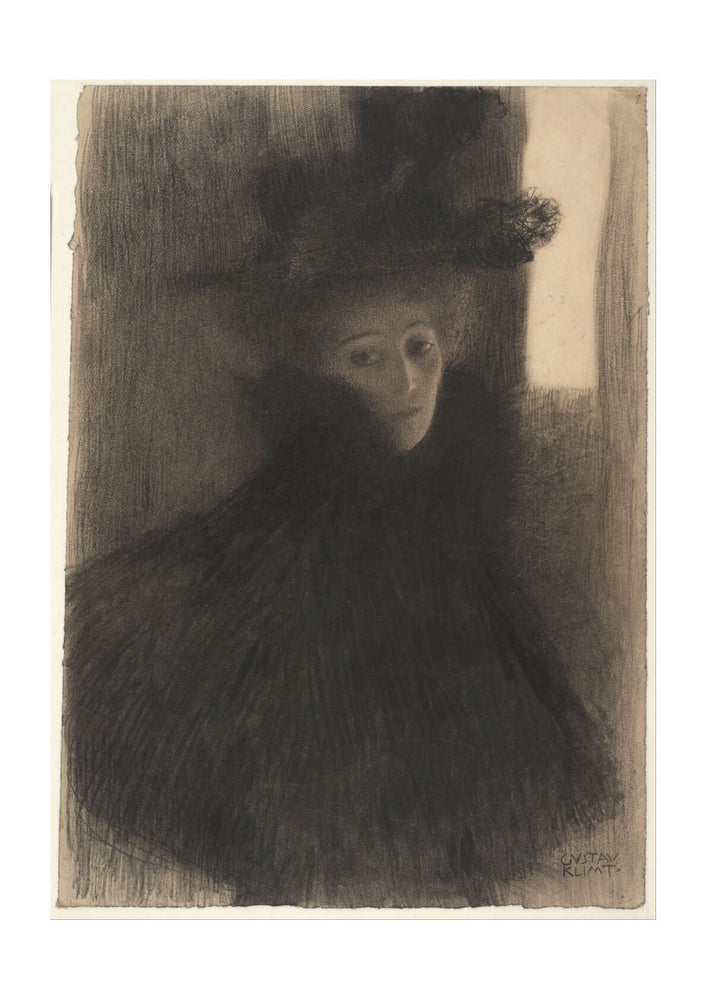 Gustav Klimt - Portrait of a Lady with Cape and Hat