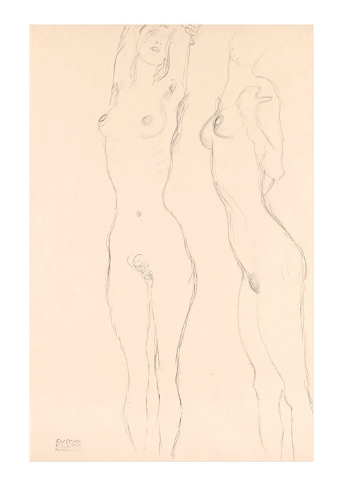 Gustav Klimt - Two Nudes the Left One with Raised Arms