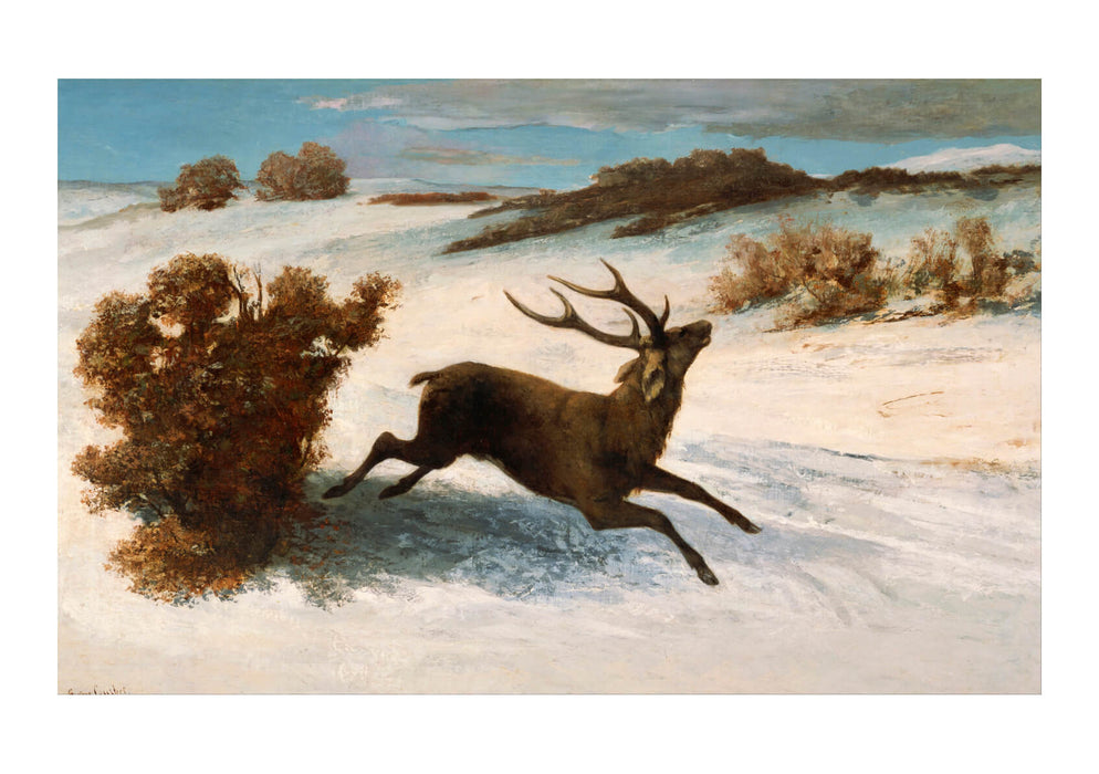 Gustave Courbet - Deer Running In The Snow