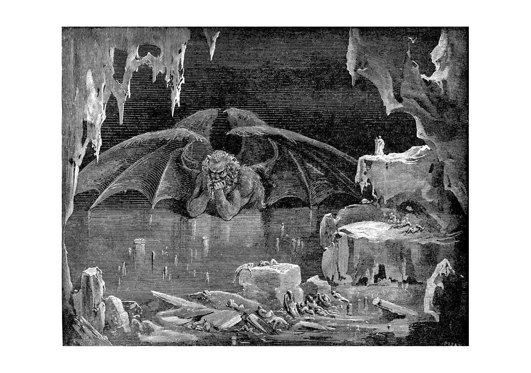 Gustave Doré - Dante's Inferno - Lucifer Kin Of Hell