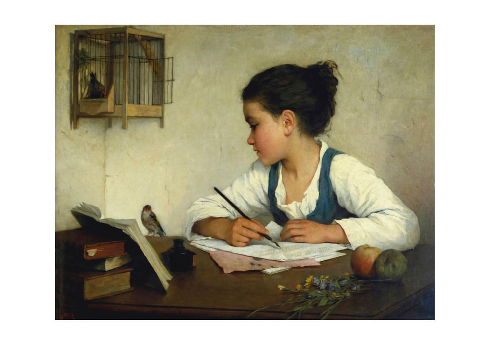 Henriette Browne Young Girl Writing at Her Desk with Birds