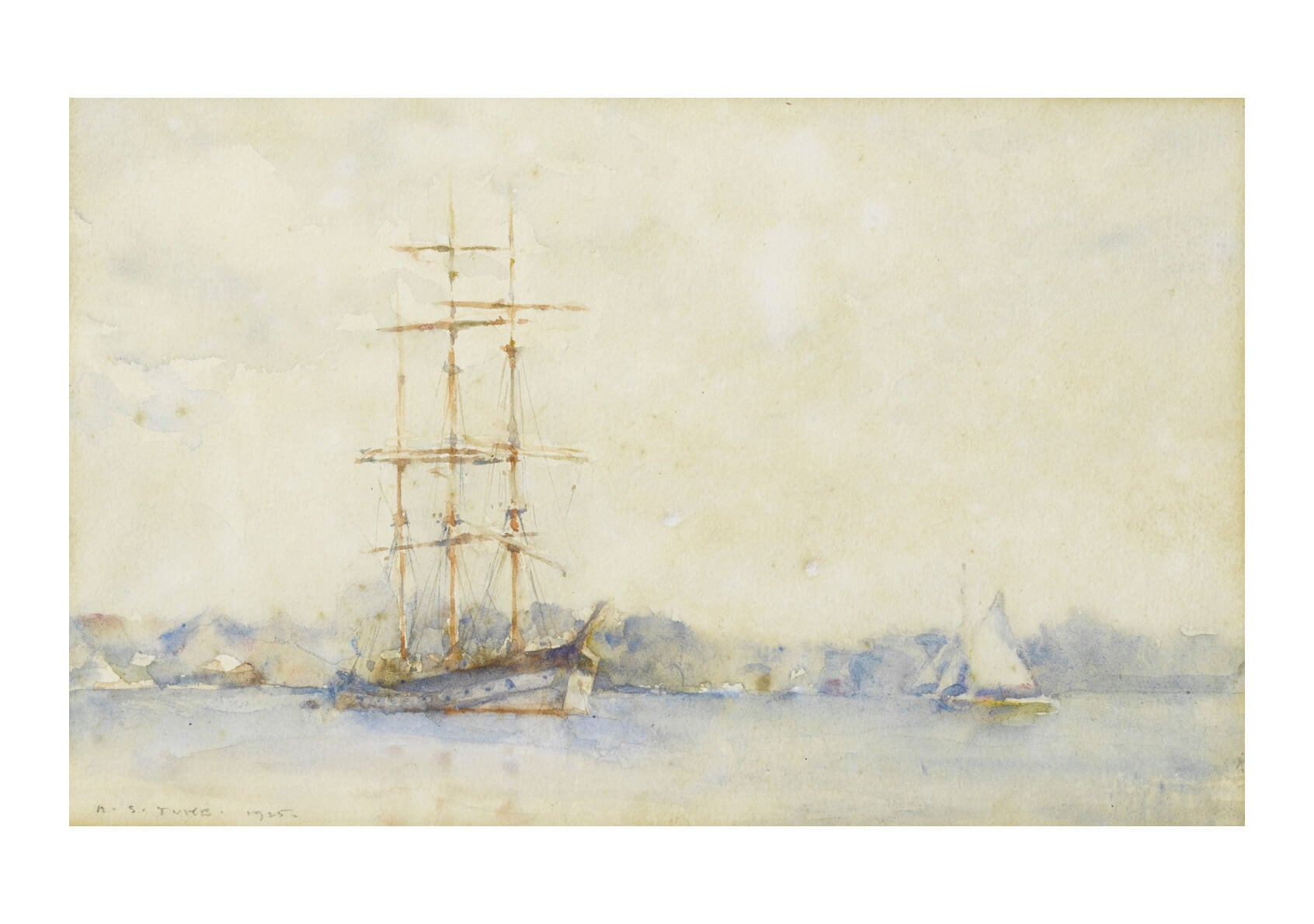 Henry Scott Tuke - A three masted barque in an estuary