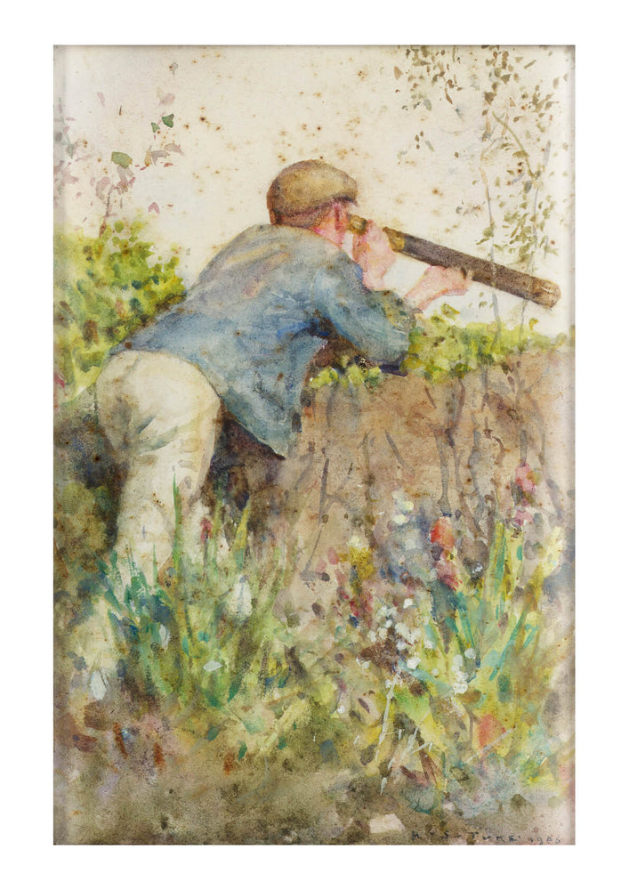 Henry Scott Tuke - Man looking through a telescope