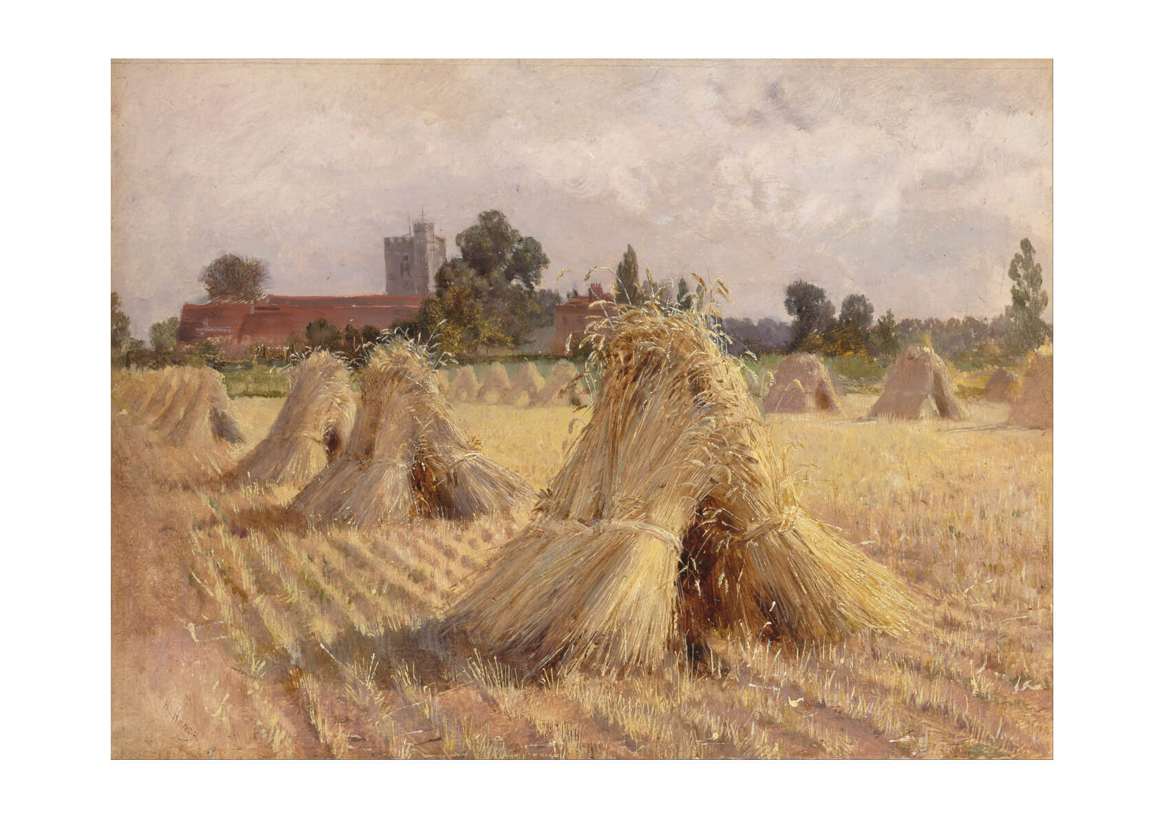 Heywood Hardy - Corn Stooks by Bray Church