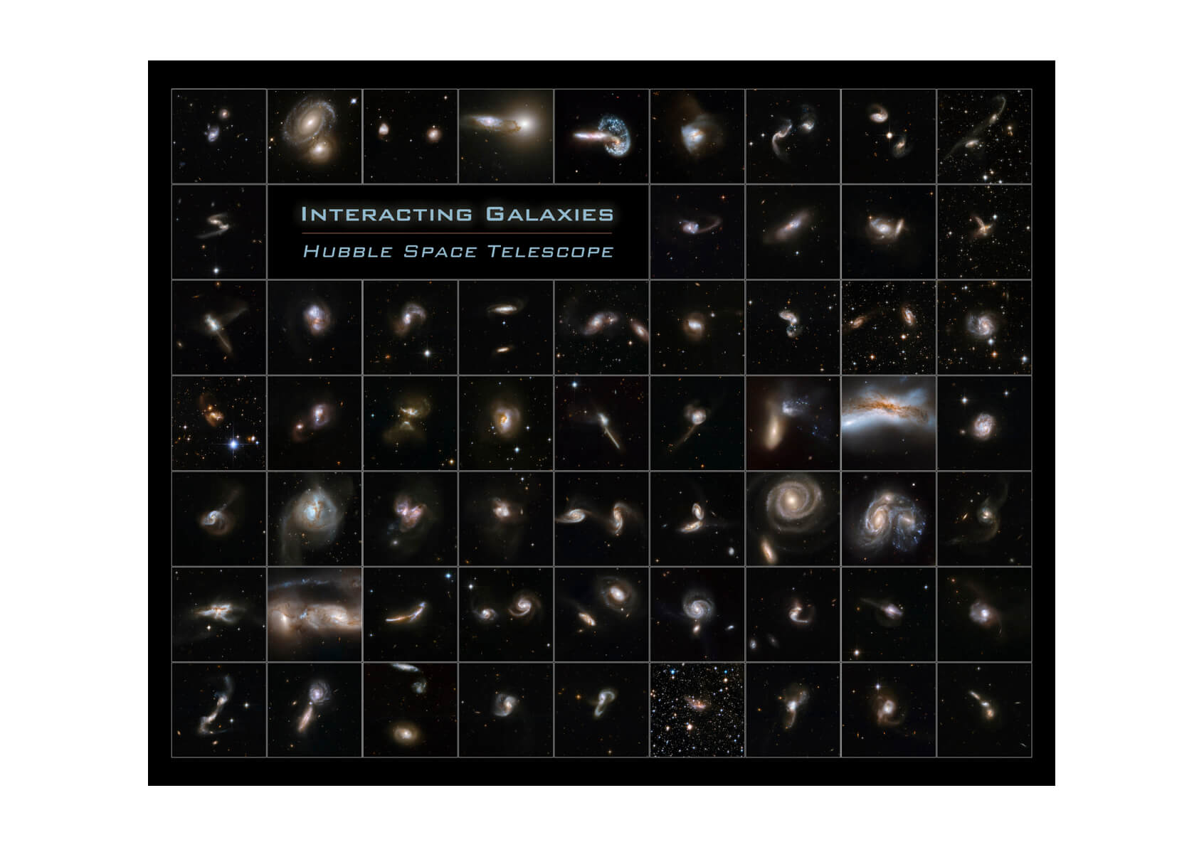 Hubble Telescope - Interacting Galaxies Poster