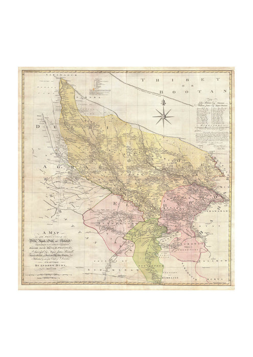 India Map Delhi and Agra Rennell 1777