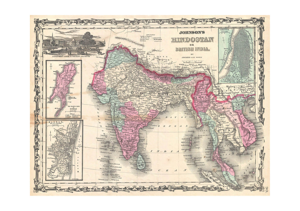 India and South East Asia Map Johnson 1862