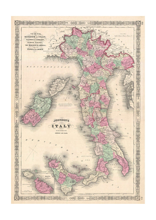 Italy Map Johnson 1864