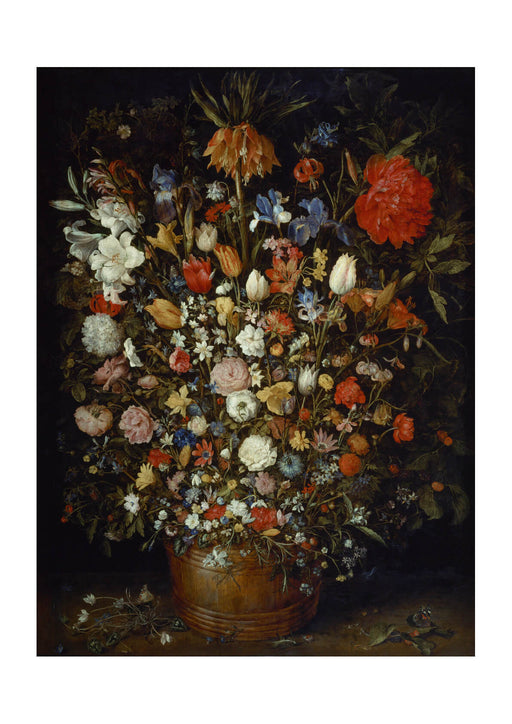 Jan Brueghel the Elder Flowers in a Wooden Vessel
