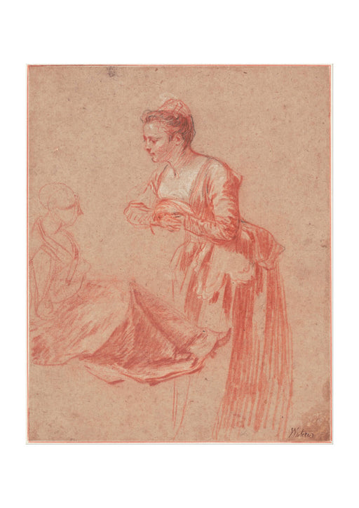 Jean Antoine Watteau - Two Figure Studies of a Young Woman