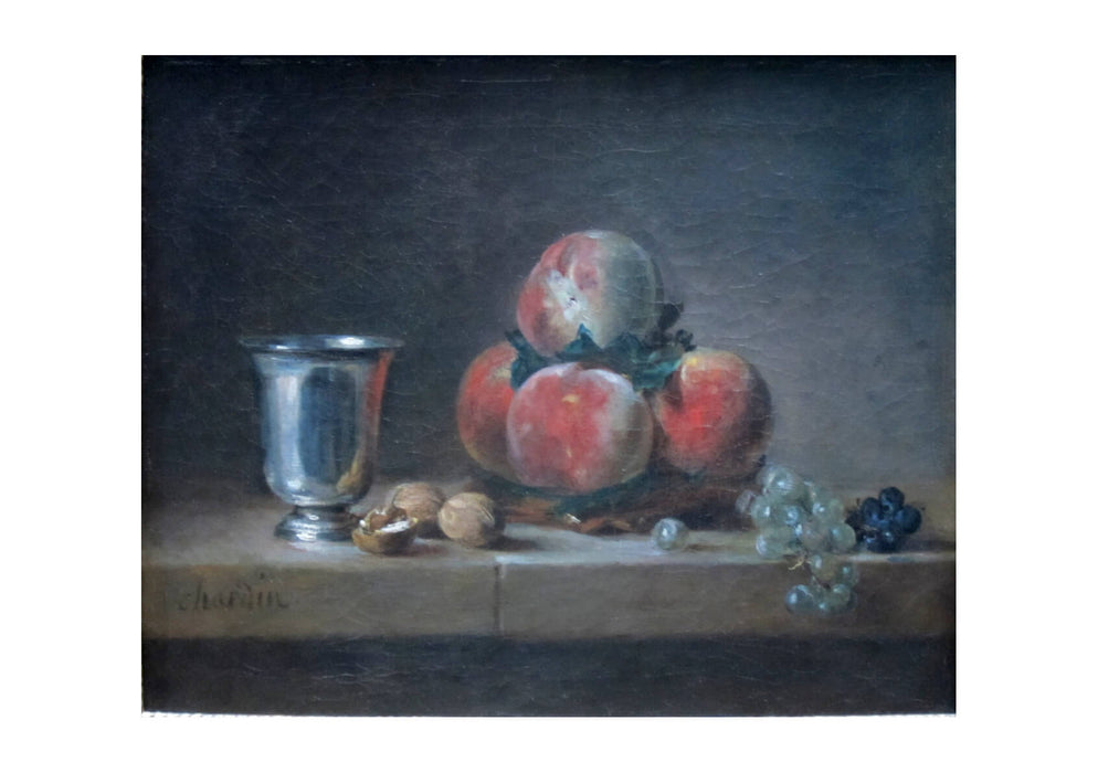 Jean Chardin - Still Life with Peaches a Silver Goblet Grapes and Walnuts