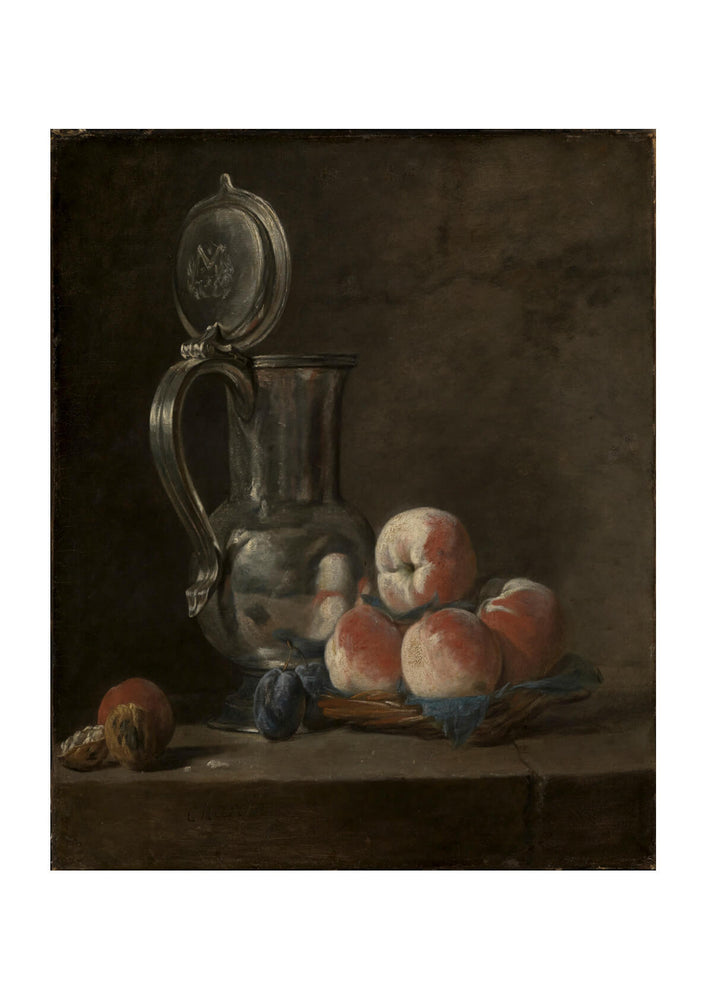 Jean Chardin - Still Life with Tin Pitcher and Peaches