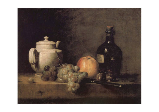 Jean Chardin - Teapot white grape apple bottle knife and Paris