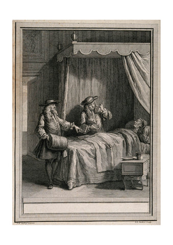Jean Oudry - Two doctor arguing over the bed of a dying patient