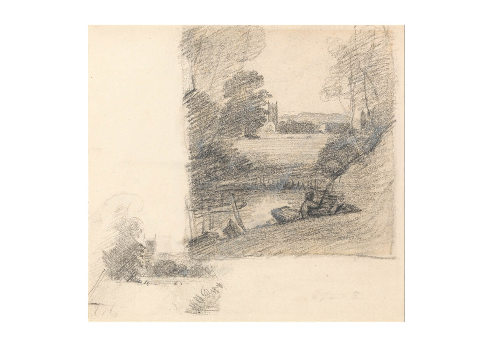 John Constable - Two Studies of Dedham Church