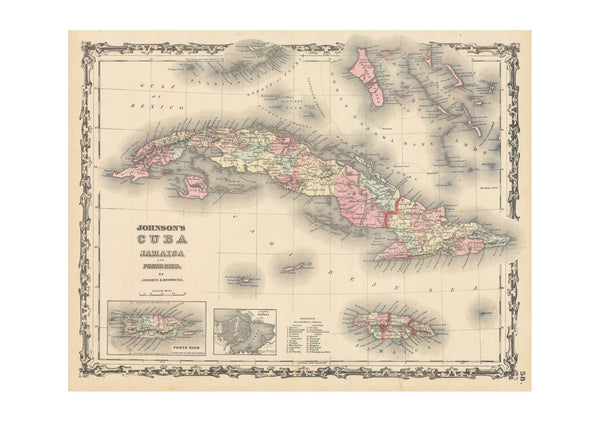 Johnson's Map Cuba Jamaica and Porto Rico