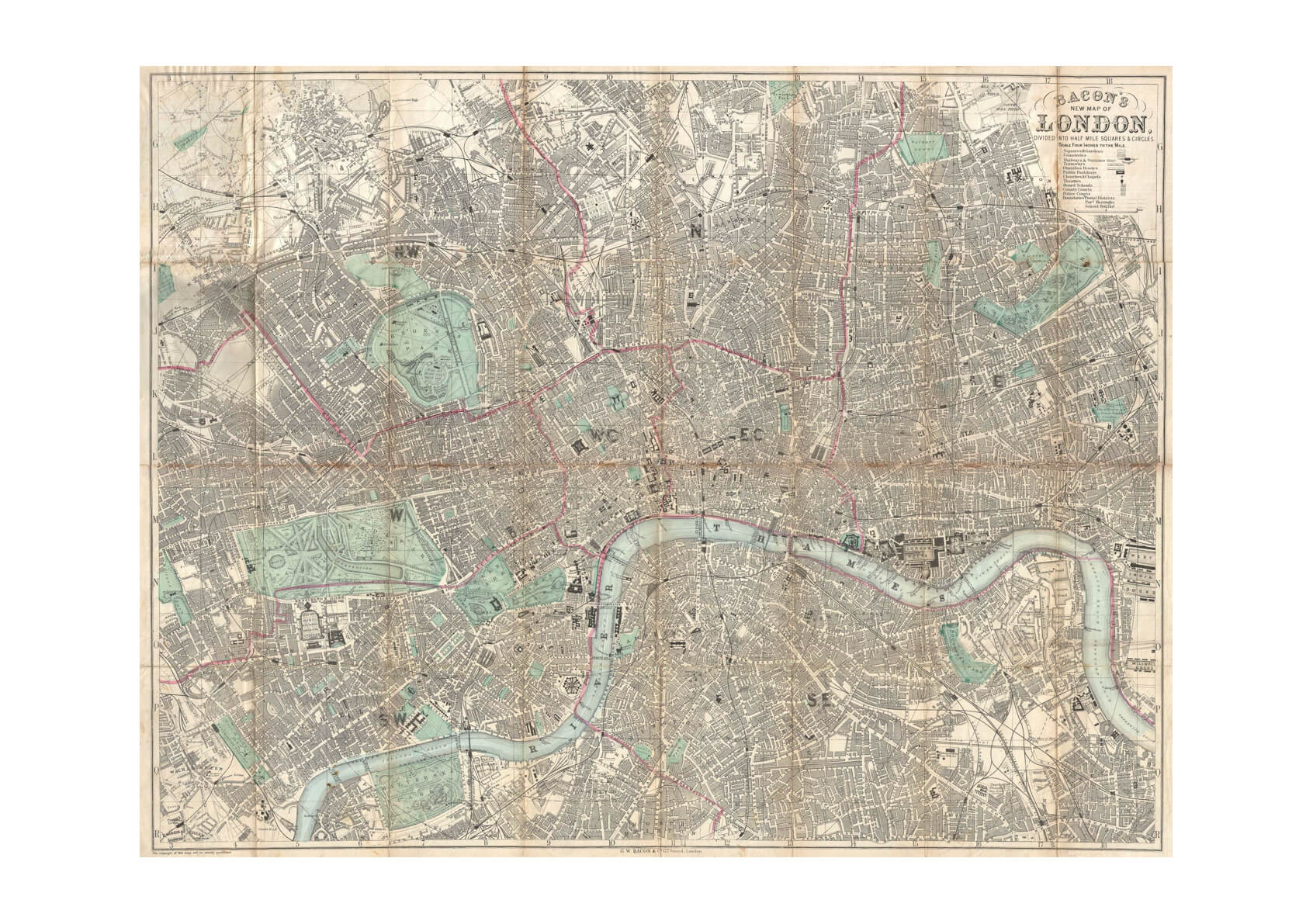 London City Map Beacon Travelers Pocket Map 1890