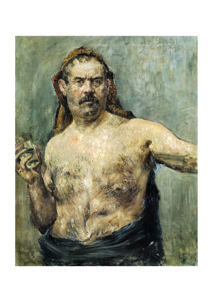 Lovis Corinth - Self-portrait with Glass by Lovis Corinth