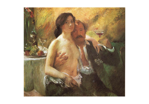 Lovis Corinth - Self portrait with his Wife and a Glass of Champagne