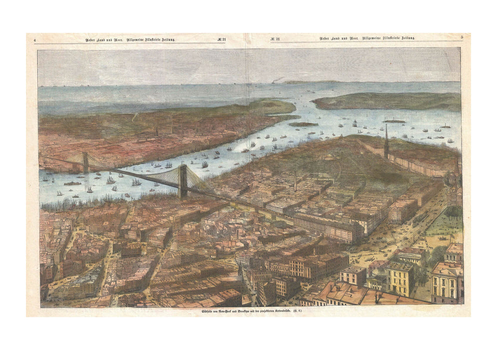 Lower Manhattan Brooklyn Bridge Map German 1883