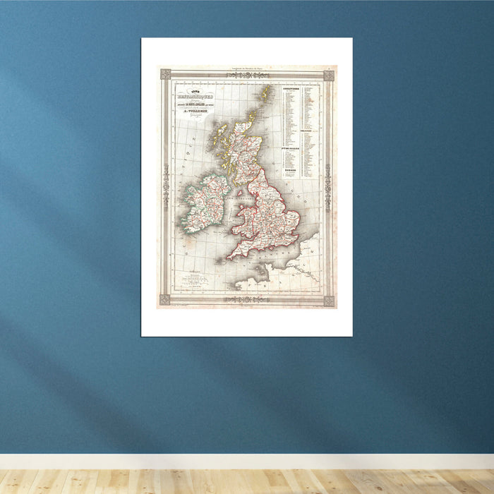 Map Of The British Isles Vuillemin 1852