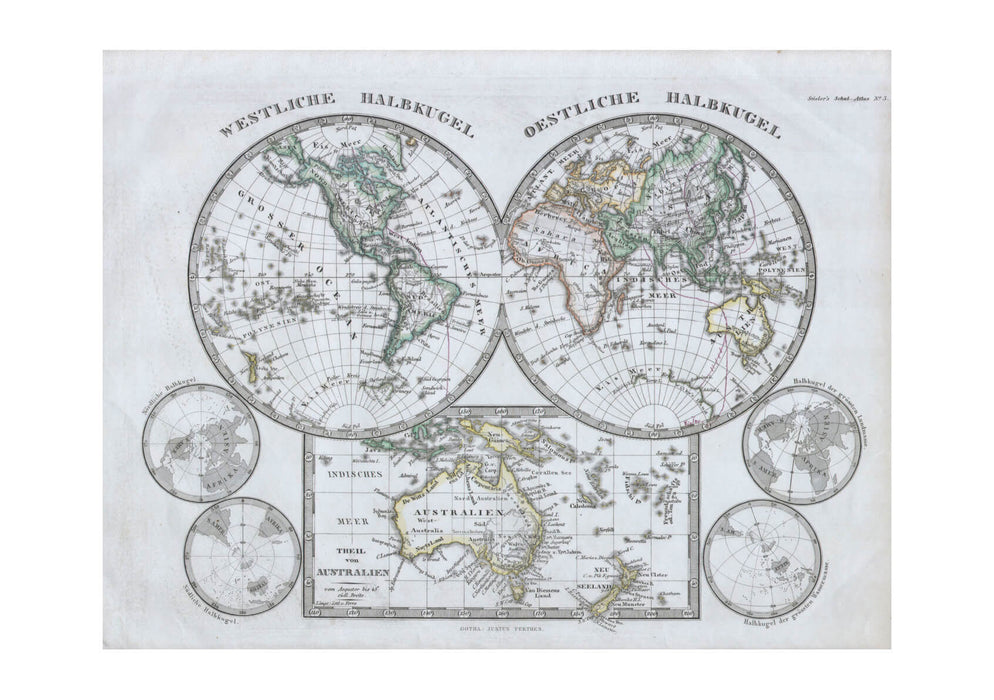 Map Of The World Hemisphere Stieler 1862