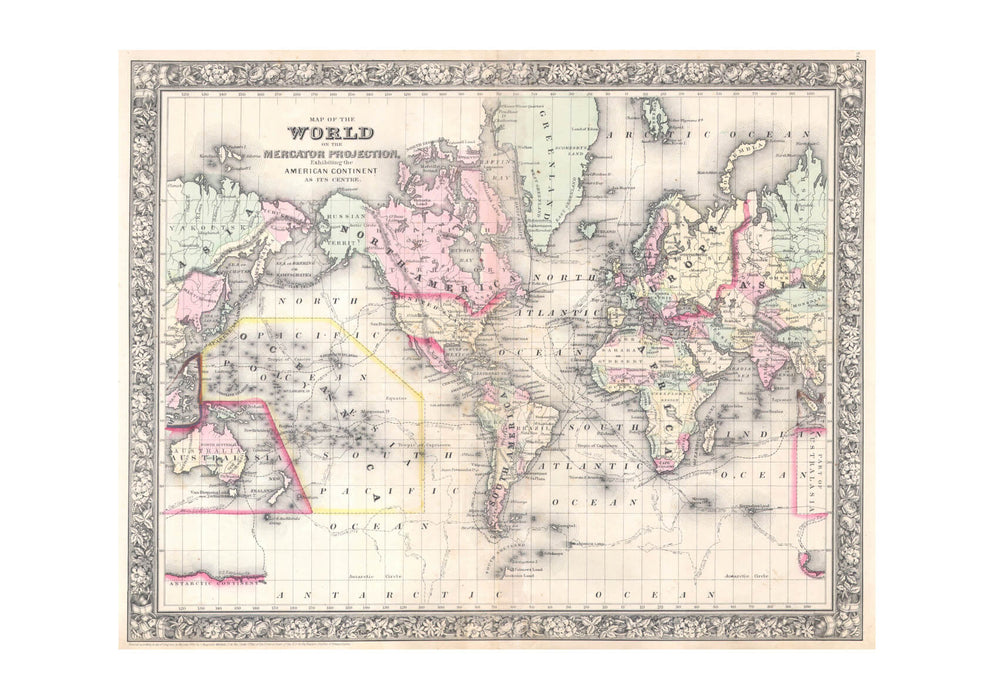 Map of the World on Mercator Projection Mutchell 1864