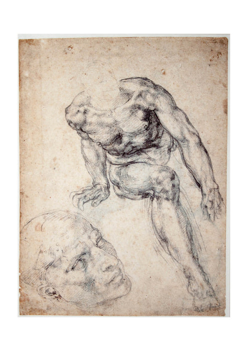 Michelangelo - Study of a male Nude separate Study of his Head