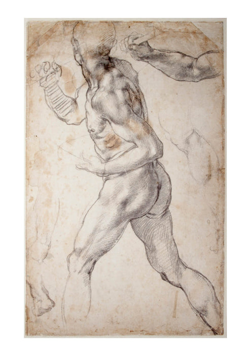 Michelangelo - Study of a striding male Nude