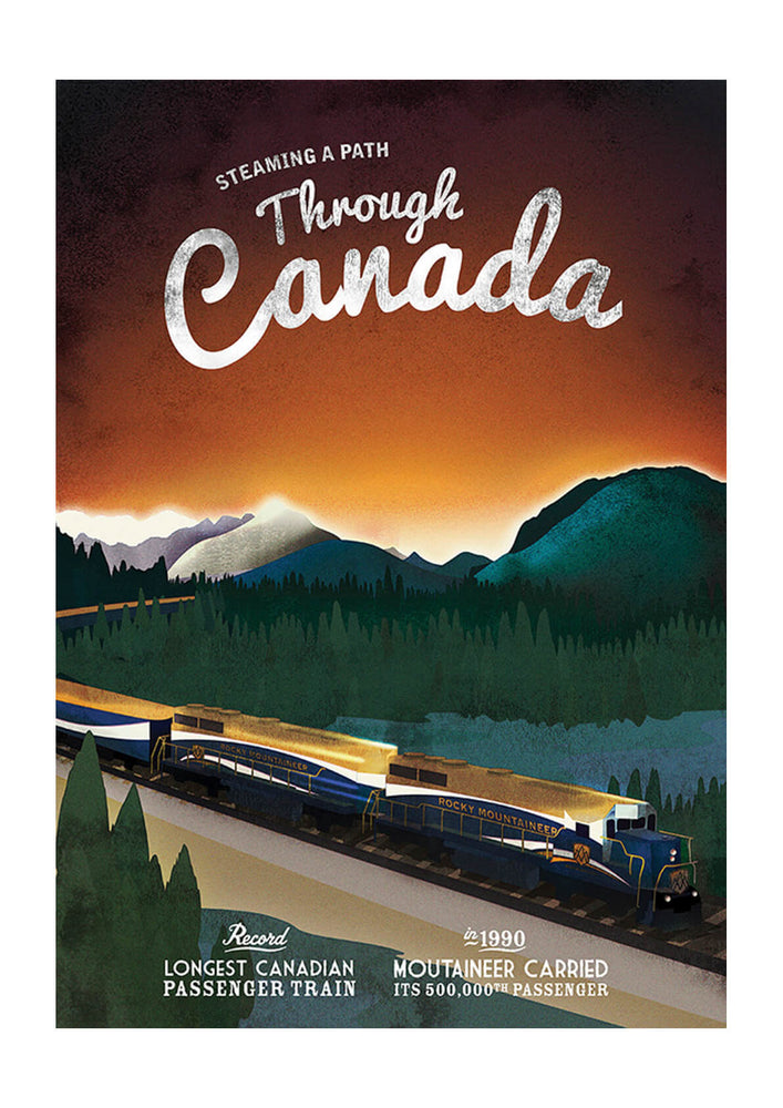 Mountain Train Through Canada