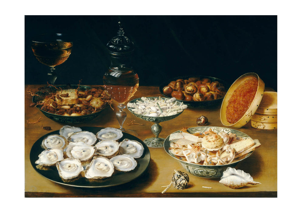 Osias Beert the Elder - Dishes with Oysters Fruit and Wine